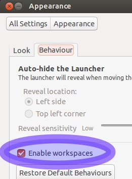 unity,workspaces,ubuntu