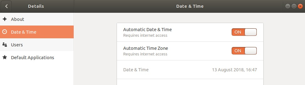 Automatic date and time synchronisation