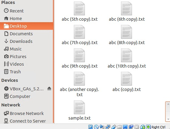File list for our example