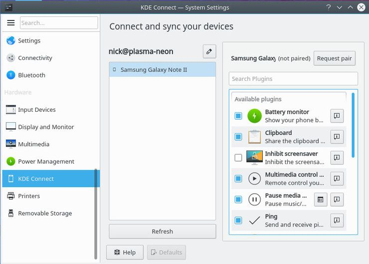 KDE Connect device settings