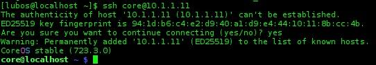 coreos ssh login after instalation