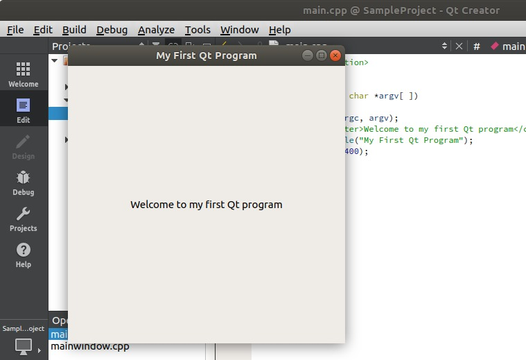Start program in QT Creator