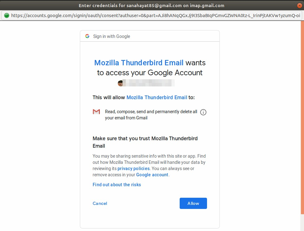 Allow Thunderbird to connect to Google account