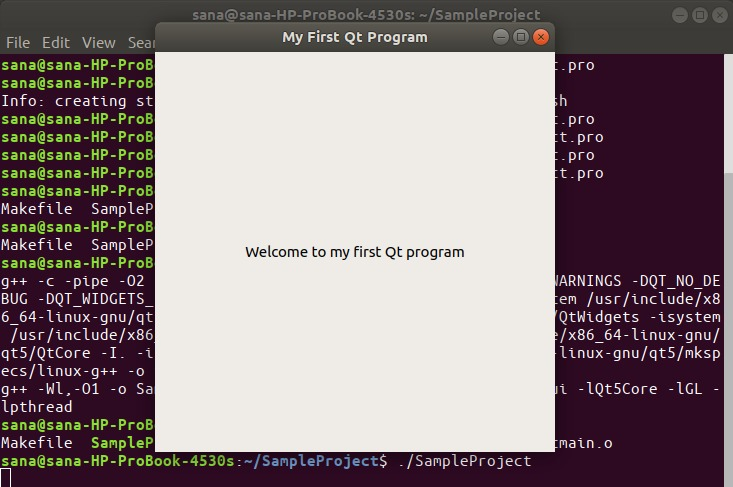 Start sample QT program