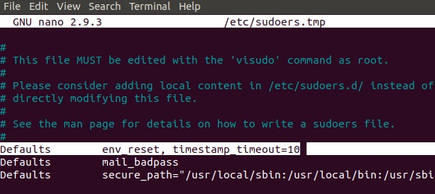 Change sudo timeout from 15 minutes to 10 minutes