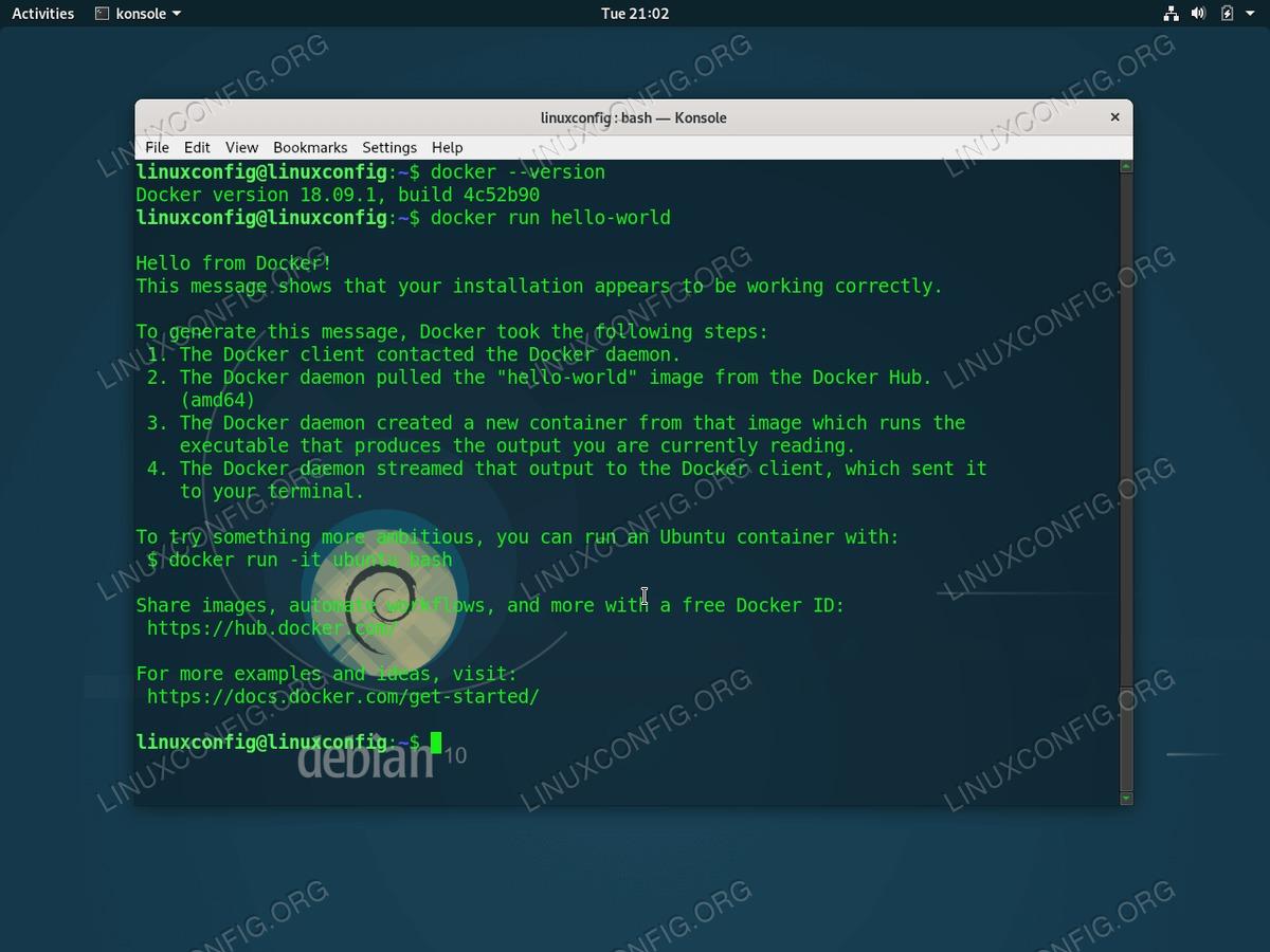 Docker on GNU/Linux Debian 10 Buster