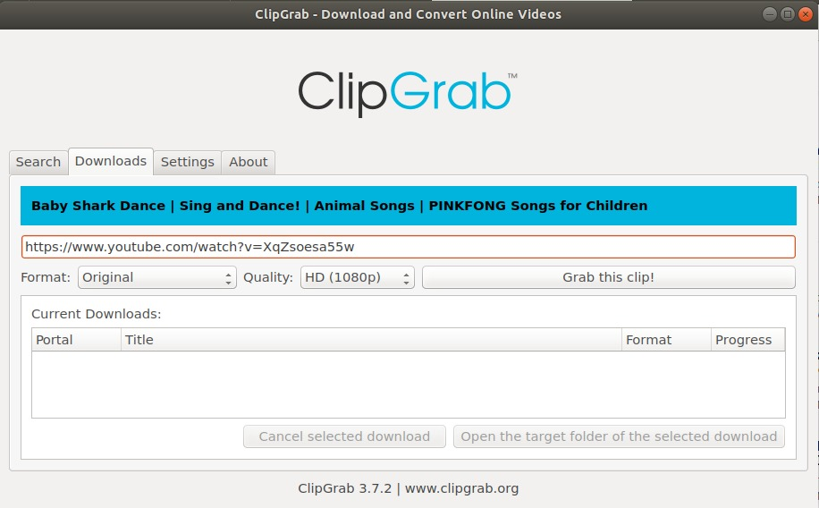ClipGrab application started