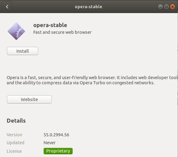Launch Opera installer