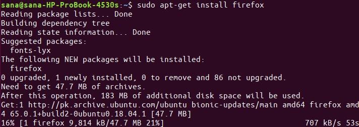 Install Firefox with apt