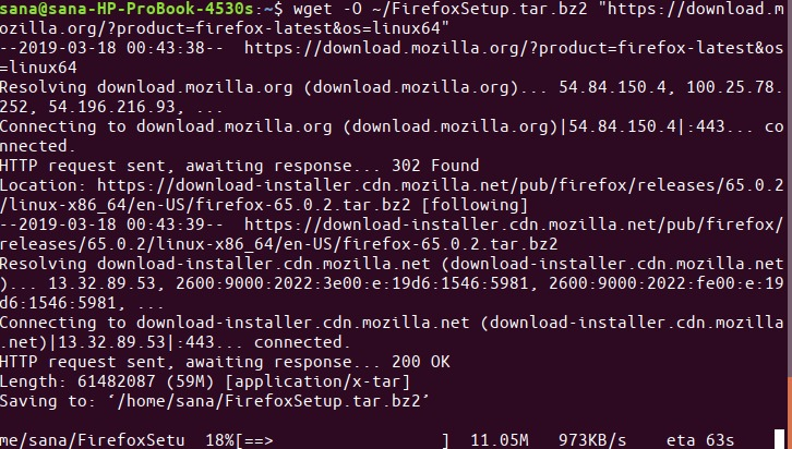 Download Firefox with wget command