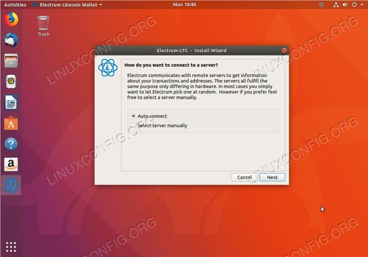 litecoin wallet - ubuntu 18.04 - connect server