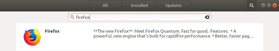 Search for Firefox in the application list