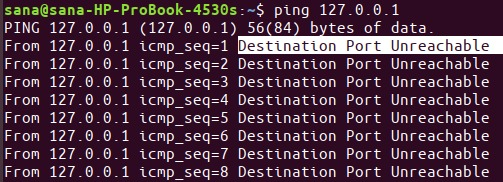 Result of ping command