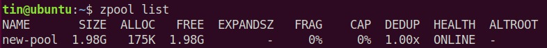 List ZFS Pools