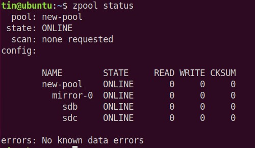 Check ZFS Pool state