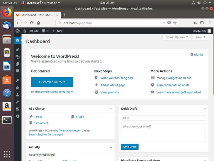 Ubuntu Bionic WordPress Dashboard