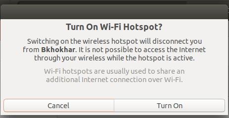 Confirm to turn on Wi-Fi Hotspot on Ubuntu