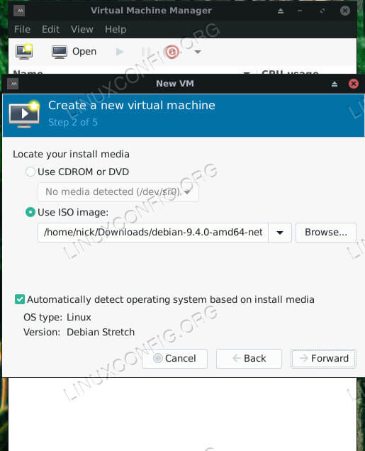 Virt-Manager Select Install Media Ubuntu 18.04