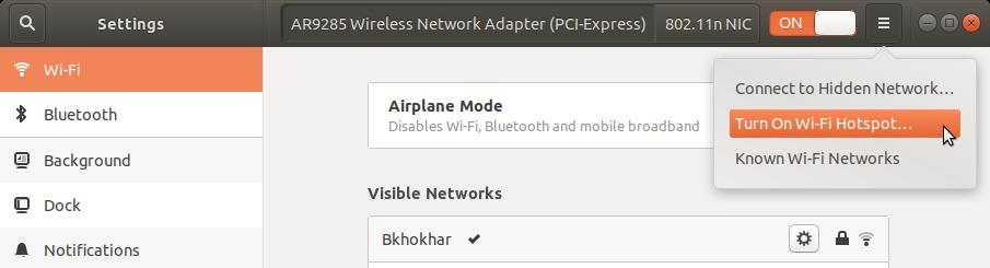 Turn on Wi-Fi Hotspot