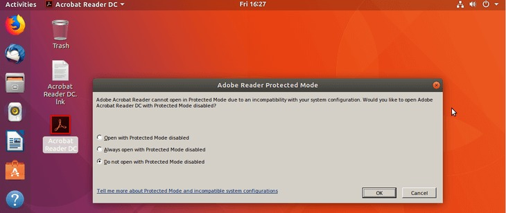 Adobe Acrobat Reader DC installation - Always open with Protected Mode Disabled