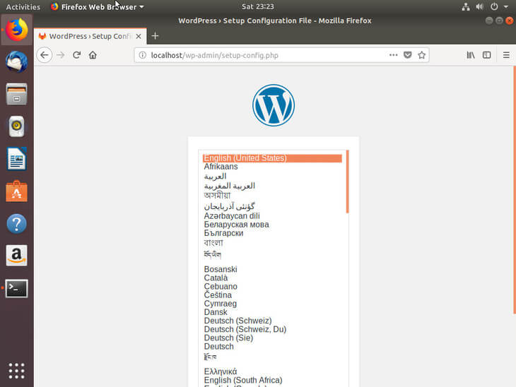 Ubuntu Bionic Select WordPress Language