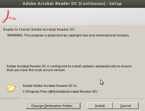 Adobe Acrobat Reader DC installation - destination