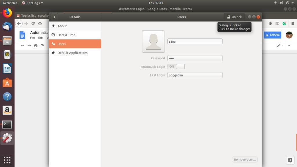Users dialog in Ubuntu