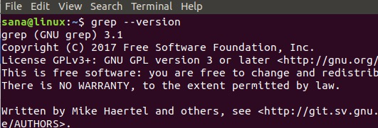 Check grep command version