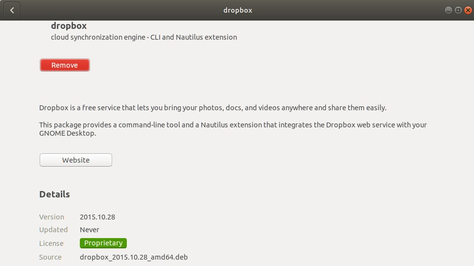 DropBox has been successfully installed