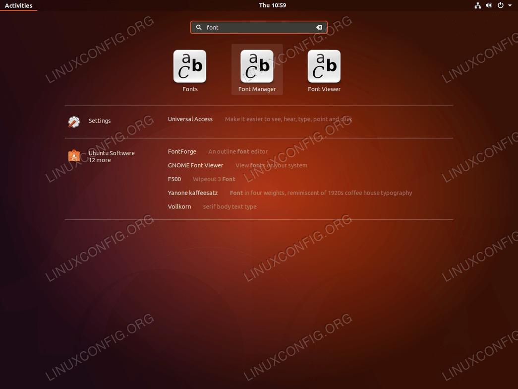 Install fonts Ubuntu 18.04 - Start Font Manager
