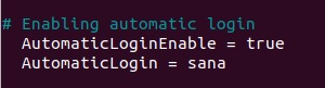 Enable automatic login