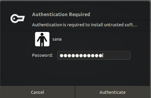 Authenticate yourself as admin user
