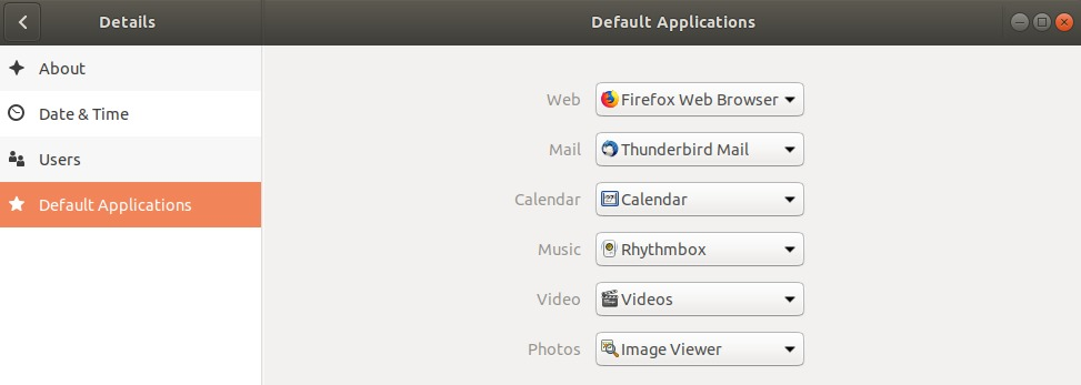 List of default desktop applications