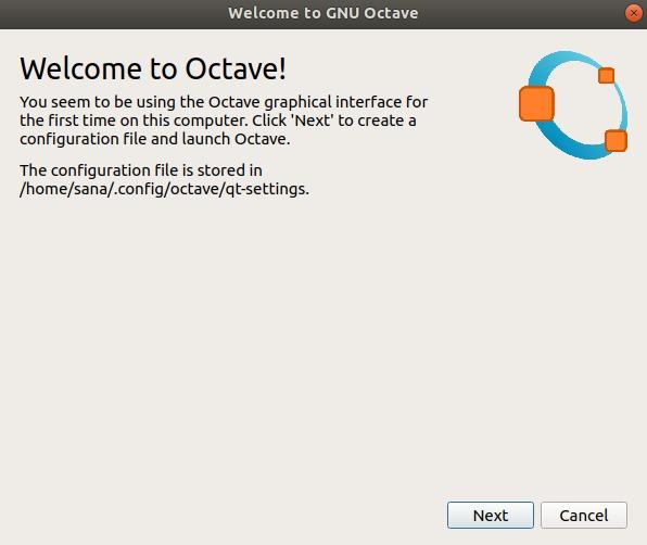 GNU Octave first start wizard