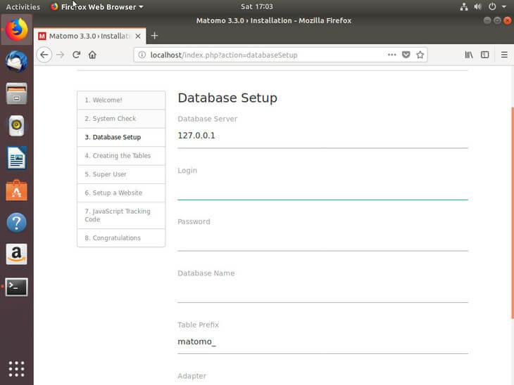 Ubuntu Bionic Matomo Database Setup