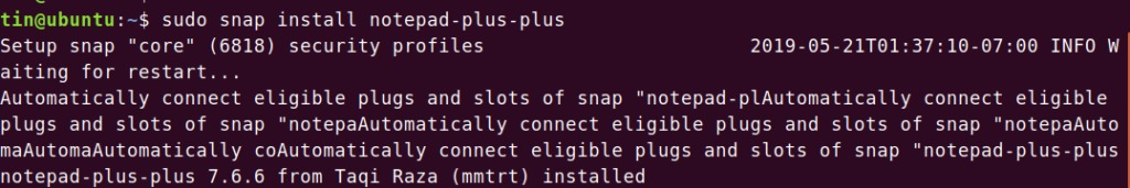 Install Notepad++ snap