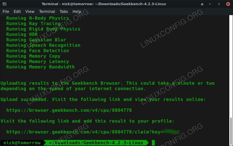 GeekBench Benchmark Finished