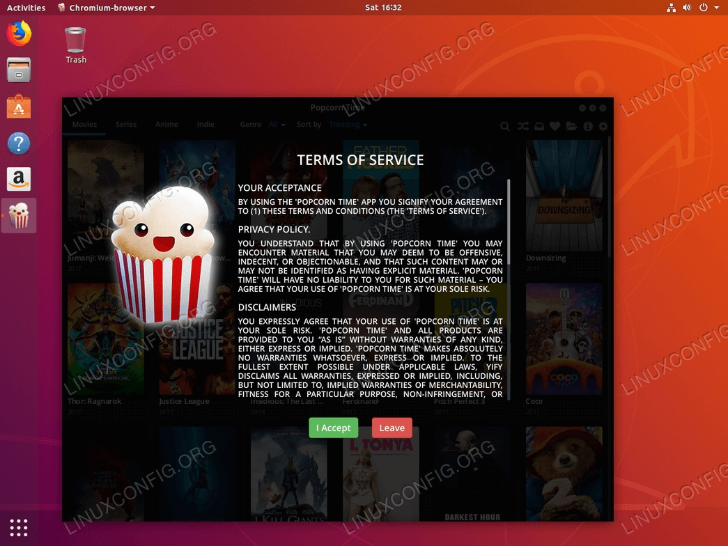 ubuntu 18.04 linux popcorn time license