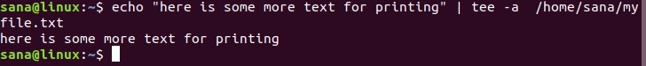 Using the append option of tee command