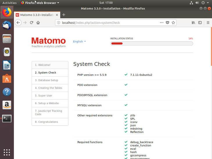 Ubuntu Bionic Matomo System Check