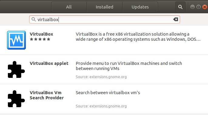 Search for VirtualBox