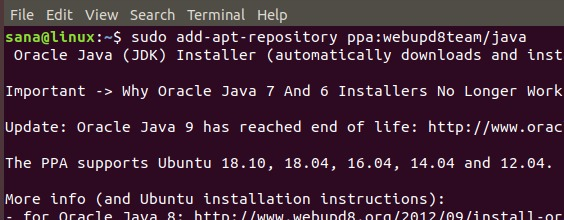 Add Oracle Java PPA repository