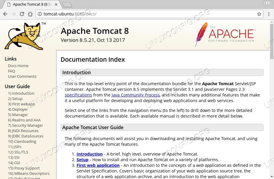 Tomcat 8 documentation on Ubuntu 18.04