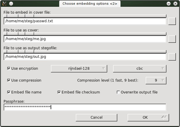 Steganography on linux example