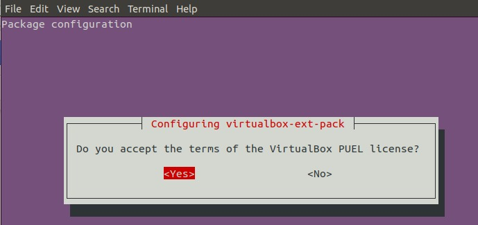 Configuring virtualbox-ext-pack