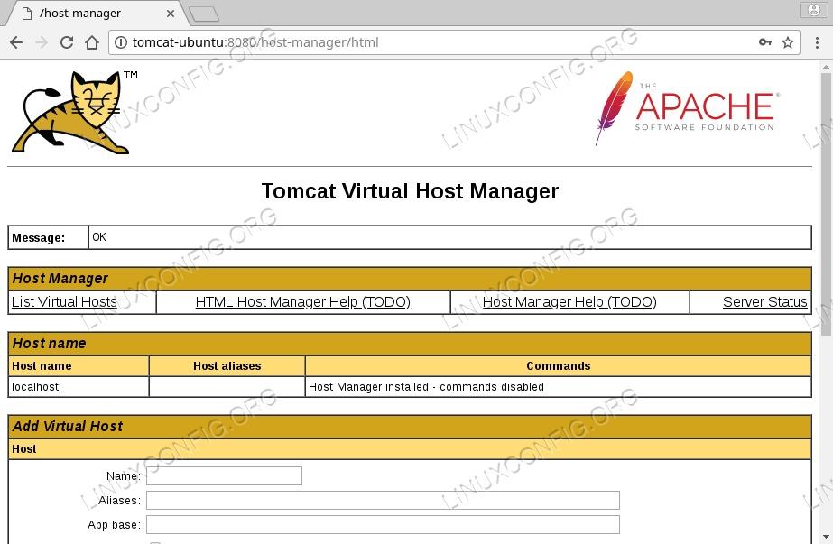 Tomcat Virtual Host Manager on Ubuntu 18.04