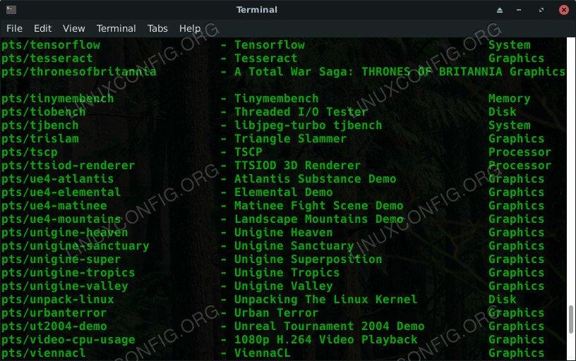Phoronix Test Suite List Tests