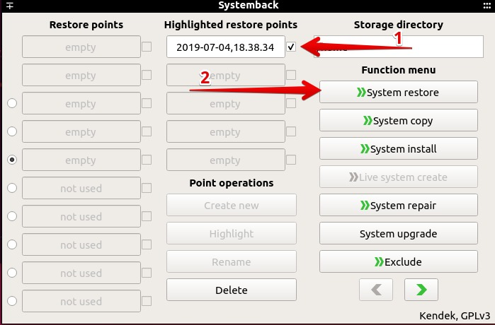 Revert system sate to previous restore point