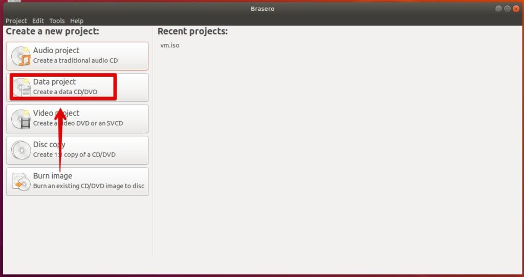 Create Data project in Brasero