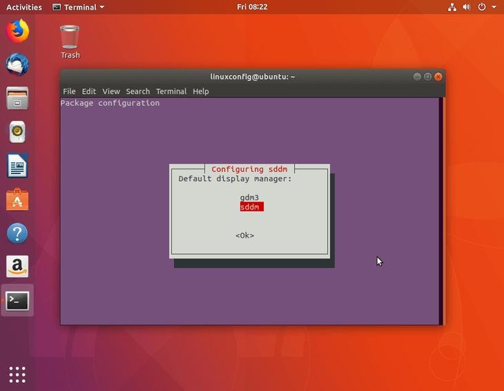 select display manager sddm